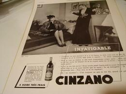 ANCIENNE PUBLICITE CINZANO INFATIGABLE 1939 - Posters