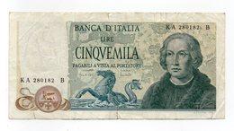 """Italia - Banconota Da Lire 5.000 """" Cristoforo Colombo """" 3 Caravelle - Decreto 20.05.1971 - (FDC12085) - [ 2] 1946-… : Républic"""
