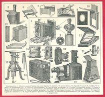 Photographie, Illustration R Leblond, Chambre Noire, Diaphragme, Lanterne, Objectif, Lampe à Magnésium....Larousse 1908 - Autres