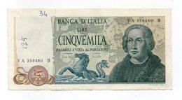 """Italia - Banconota Da Lire 5.000 """" Cristoforo Colombo """" 3 Caravelle - Decreto 20.05.1971 - (FDC12086) - [ 2] 1946-… : Républic"""