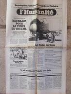 Journal L'Humanité (16 Nov 1981) Temps De Travail - Columbia - Jacky Le Mat - Banlieusardds - A Gourdon - Newspapers