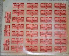 Rare Grande Planche Glassoïd Logos Rasoir électrique PhiliShave 110 Volt Philips 33,5 X 29 Cm - Advertising (Porcelain) Signs