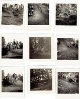 Lot De 9 Photos Originales Du Motocross De Mariemont (Morlanwelz) Prise Par Un Amateur Le 15 Août 1950 - Luoghi