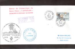 E39 - Timbre France 28.4.1989 Le Havre - Retour Du Navire Polaire L' ASTROLABE. Trois Beaux Cachets. - Lettres & Documents