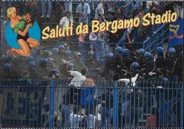 SALUTI DA BERGAMO STADIO  - CARTOLINA UMORISTICA  - EDIZIONE CUORE - NUOVA - Humor