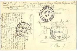 GUERRE 14-18 HOPITAL TEMPORAIRE N° 60 Bis CANNES ALPES-MMES TàD 18-3-15 Envoi Abbé J Raimbault Infirmier Militaire - Marcophilie (Lettres)