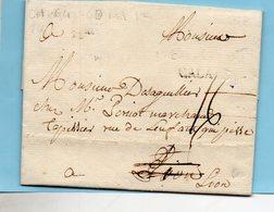 """Linéaire """"CALAIS"""",22mm,L.A.C. Du 14/10/1863,taxe 16 Pour LYON. - Postmark Collection (Covers)"""