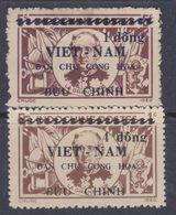 Viêt-Nam Du Nord N° 54 + 55 X Timbres D'Indochine Surchargés : Les 2 Vals Trace Char., Dentelure Habituelle Sinon TB - Viêt-Nam