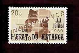 """Katanga. OBP-COB. 1960 - N°40. *CONGO INDEPENDANCE. SURCHARGES """"11 JUILLET DE L'ETAT DU KATANGA"""".  20c. Neuf - Katanga"""