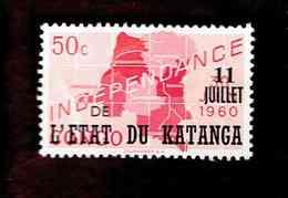 """Katanga. OBP-COB. 1960 - N°40. *CONGO INDEPENDANCE. SURCHARGES """"11 JUILLET DE L'ETAT DU KATANGA"""".  50c. Neuf - Katanga"""