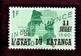 """Katanga. OBP-COB. 1960 - N°40. *CONGO INDEPENDANCE. SURCHARGES """"11 JUILLET DE L'ETAT DU KATANGA"""".  1F. Neuf - Katanga"""