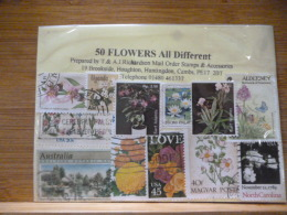 THEMATIC STAMPS ON FLOWERS 50 ALL DIFFERENT - Plants