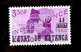 """Katanga. OBP-COB. 1960 - N°40. *CONGO INDEPENDANCE. SURCHARGES """"11 JUILLET DE L'ETAT DU KATANGA"""".  3,50F. Neuf - Katanga"""