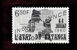 """Katanga. OBP-COB. 1960 - N°40. *CONGO INDEPENDANCE. SURCHARGES """"11 JUILLET DE L'ETAT DU KATANGA"""".  6,50F. Neuf - Katanga"""