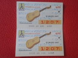 CUPÓN DE ONCE SPANISH LOTTERY LOTERIE CIEGOS SPAIN LOTERÍA INSTRUMENT MUSIC 1987 VIHUELA RENACIMIENTO RENAISSANCE GUITAR - Lottery Tickets