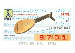 CUPÓN DE ONCE SPANISH LOTTERY LOTERIE CIEGOS SPAIN LOTERÍA INSTRUMENT MUSIC 1987 LAÚD LUTE GUITAR OLD INSTRUMENTOS VER - Lottery Tickets