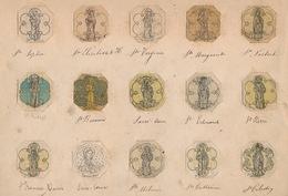 15 ORIGINELE TEKENINGEN VAN  ZILVERSMID BOURDON GENT UIT PRESENTATIEBOEK +-  3X3.5 CM - ZIE BESCHRIJF - Devotion Images