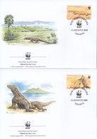 4 FDC Covers Indonesia WWF 2000 / Komodo Veraan - FDC