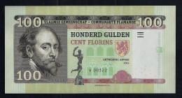 """100 Gulden (Fl Flandern"", Entwurf, Beids. Druck, RRRR, UNC, Ca. 160 X 82 Mm, Essay, Trial, UV, Wm, Serial No. - Belgien"