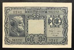 10 LIRE GIOVE 1944 LUOGOTENENZA Spl LOTTO 1791 - [ 1] …-1946 : Koninkrijk