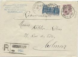LETTRE RECOMMANDEE 1947 AVEC CACHET DE RECOMMANDATION PROVISOIRE DE GUEBWILLER - Elzas-Lotharingen