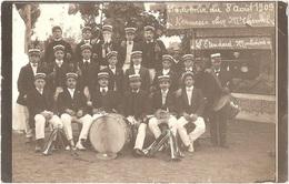 Dépt 03 - MOULINS - Carte-photo KERMESSE Du 8 Août 1909 Chez Mr CHEMEL (L'Étendard Moulinois, Fanfare, Musique, Fête) - Moulins