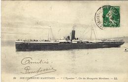 """34- Nos Courriers Maritimes - """"Equateur """" , Cie Des Messageries Maritimes - Ed. L L - Paquebots"""