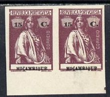 Mozambico 1914, Ceres Imperf Colour Trial Horiz Proof On Ungummed Paper, One Stamp With Large Flaw In Rhand Value Tablet - Mozambique