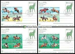 LIBYA - 1986 Horses Equestrians Riding (4 Special P/stationery Postcards FDC) - Horses