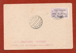 POSTA AEREA IDROVOLANTE NAPOLI PALERMO NAPOLI BUSTA PER PALERMO ANNULLO SPECIALE E DI ARRIVO FIRMATA DIENA - 1900-44 Vittorio Emanuele III