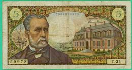 5 Francs - France -  Pasteur - N° T.34  59978  /  K.1-9-1966.K - TB+ - - 5 F 1966-1970 ''Pasteur''