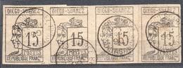!!! PRIX FIXE : DIEGO SUAREZ, BANDE DE 4 DU N°8 OBLITEREE, SIGNEE CALVES. 2 PLIS DANS LE PAPIER, MAIS RRR - Used Stamps