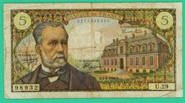 5 Francs - France -  Pasteur - N° U.29  98932 / E.1-9-1966.E.  - TB+ - - 5 F 1966-1970 ''Pasteur''