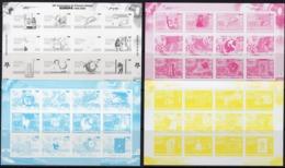 Mozambico 2006, 50th Europa Stamps, Trains, Concorde, Fishes, Cars, Clown, 4 Progressive Proof - Mozambique