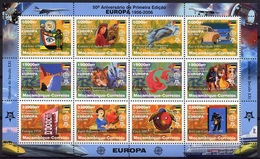 Mozambico 2006, 50th Europa Stamps, Trains, Concorde, Fishes, Cars, Clown, 12val In BF - Mozambique