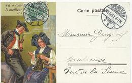 CARTE POSTALE PUBLICITAIRE ILLUSTREE 1911 FIL A COUDRE SCHLUMBERGER - Guebwiller