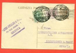 INTERI POSTALI-CARTOLINE POSTALI- C61 - DA GENOVA PER LUEDENSCHEID -GERMANIA-PUBBLICITARIA ANSALDO - 1900-44 Vittorio Emanuele III