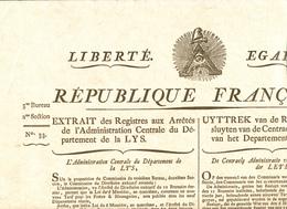 391/27 -  Fac-Simile ( Wefis 1988 ) Document Occup. Franç BRUGES An 5 - Nouveau Tarif Poste Aux Lettres (Bilingue FR/NL) - 1794-1814 (French Period)