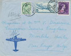 384/27 -  Lettre PAR AVION TP Dakota + Moins 10% + Sceau CHATELINEAU 1946 Vers Congo Belge - TARIF EXACT 8 F 50 - Luchtpost