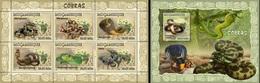 Mozambico 2007, Animals, Snakes, 6val In BF +BF - Schlangen
