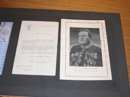 F.J. VAN DE MEULEBROECK -BOURGMESTRE DE BRUXELLES-PORTRAIT TISSE SUR SOIE Sasa 1953+lettre De 1933 Au Min P.E. JANSON - Documents Historiques