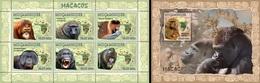 Mozambico 2007, Animals, Monkeys, 6val In BF +BF - Affen