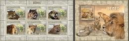 Mozambico 2007, Animals, Lions, 6val In BF +BF - Raubkatzen