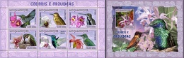 Mozambico 2007, Animals, Hunning Birs And Orchids, 6val In BF +BF - Sperlingsvögel & Singvögel