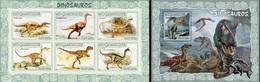 Mozambico 2007, Animals, Dinosaurus I, 6val In BF +BF - Briefmarken