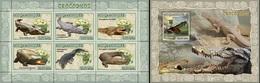 Mozambico 2007, Animals, Crocodiles, 6val In BF +BF - Reptilien & Amphibien