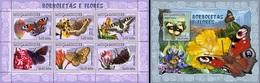 Mozambico 2007, Animals, Butterflies II, 6val In BF +BF - Schmetterlinge