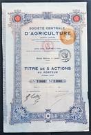 France - Société Centrale D'Agriculture (Laon - Aisne) - 1920 - Titre De 5 Actions - Agriculture