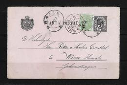 Romania-1892 Uprated 5 Bani Black On Pink PS Postcard Braila Cover To Austria - Entiers Postaux