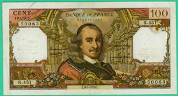 100 Francs - France -  Corneille - N° B.451 50063 / L.8-1-1970.L. - TTB - - 1962-1997 ''Francs''